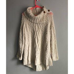 Anthro Moth Chunky Knit Cowl Neck Sweater Sz M